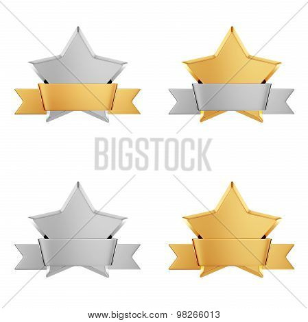 Set of gold stars awards