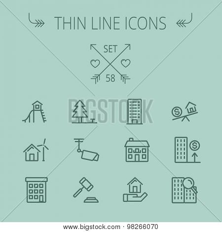 Real estate thin line icon set for web and mobile. Set includes- pine tree, antenna, gavel, playhouse, windmill, buildings icons. Modern minimalistic flat design. Vector dark grey icon on grey