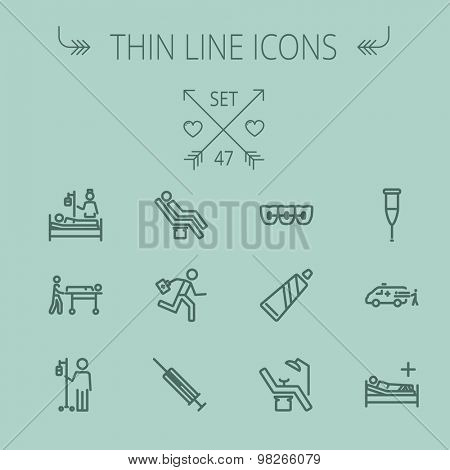 Medicine thin line icon set for web and mobile. Set includes- toothpaste, syringe, dentist chair, teeth, bed,dextrose, ambulance icons. Modern minimalistic flat design. Vector dark grey icon on grey