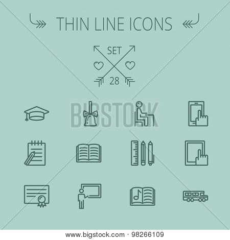 Education thin line icon set for web and mobile. Set includes- graduation cap, bell, notepad, bus, certificate, tablet, blackboard, books, workplace icons. Modern minimalistic flat design. Vector dark