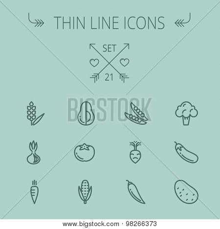 Food and drink thin line icon set for web and mobile. Set includes- cauliflower, carrots, potato,corn, eggplant, tomato, onion, avocado icons. Modern minimalistic flat design. Vector dark grey icon on