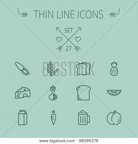 Food and drink thin line icon set for web and mobile. Set includes- fresh milk, bread, cheese, squid, carrots, pineapple, beer, melon icons. Modern minimalistic flat design. Vector dark grey icon on