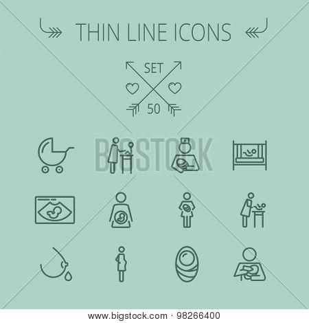 Medicine thin line icon set for web and mobile. Set includes- stroller, crib, nurse, breastmilk, pregnant, baby icons. Modern minimalistic flat design. Vector dark grey icon on grey background.