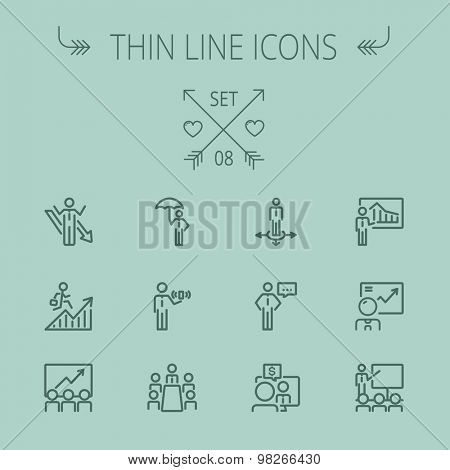Business thin line icon set for web and mobile. Set includes- people, wifi, arrows, money, umbrella icons. Modern minimalistic flat design. Vector dark grey icon on grey background.