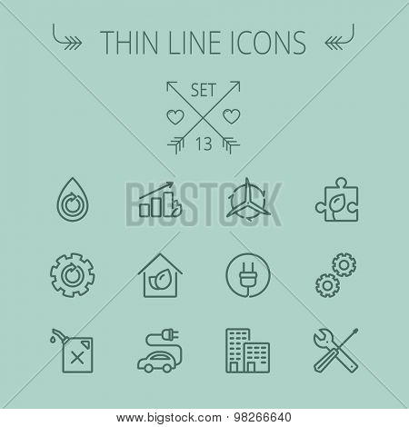 Ecology thin line icon set for web and mobile. Set includes- gear wheel, gas pump, leafs, tools, plug, building, electric car icons. Modern minimalistic flat design. Vector dark grey icon on grey