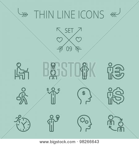 Business thin line icon set for web and mobile. Set includes-head, Euro, US dollar, clock, head, laptop, bulb, businessman icons. Modern minimalistic flat design. Vector dark grey icon on grey
