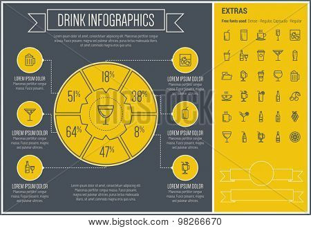 Drink infographic template and elements. The template includes the following set of icons - tea, soda, whisky, cold, refreshment, fruit, orange jiuce and more. Modern minimalistic flat thin line