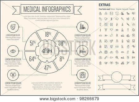 Medical infographic template and elements. The template includes the following set of icons - Hospital signboard, tooth, band aid, foot, ear, poison, ovary, lungs, syringe, and more. Modern