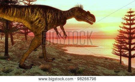 Megalosaurus dinosaur walking toward the ocean - 3D render
