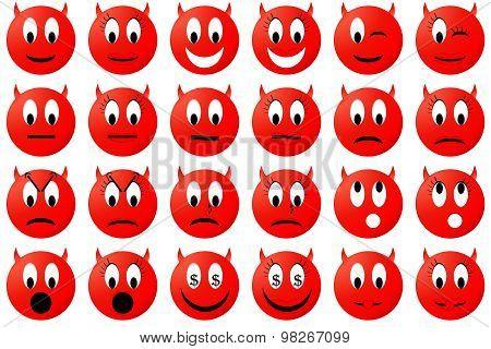 Devils emoticons set or collection