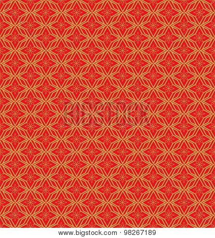 Golden seamless Chinese window tracery geometry flower pattern background.