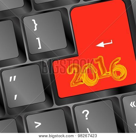Keyboard Keys With New Year Sign 2016