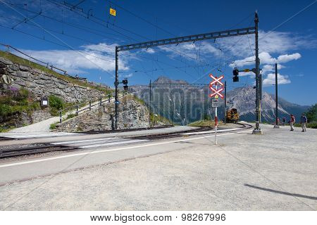 Alp Grum Railway Station Is Situated On The Bernina Railway