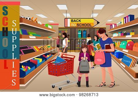 Kids With Their Parents Buying School Supplies