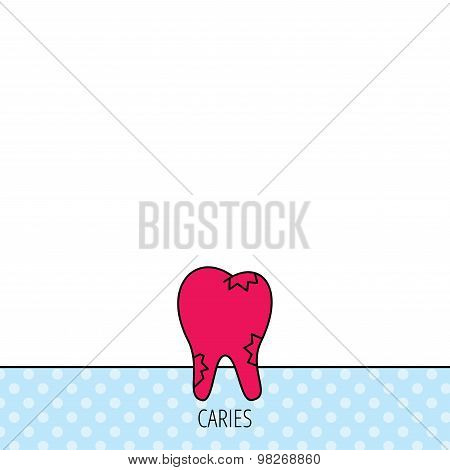 Caries icon. Tooth health sign.