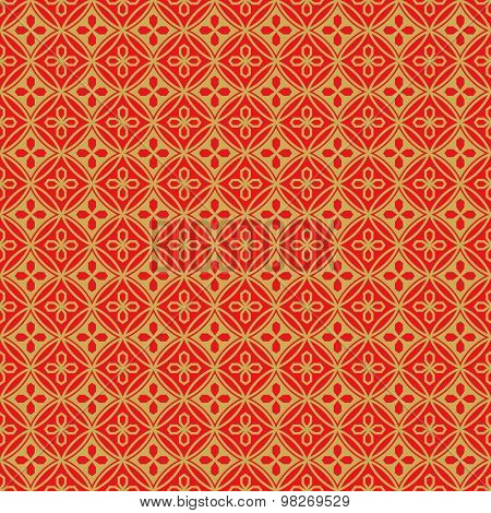 Golden seamless Chinese window tracery polygon round flower pattern background.