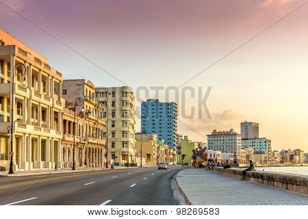 HAVANA, CUBA - CIRCA AUGUST 2015: Sunset at Malecon avenue in Havana, Cuba