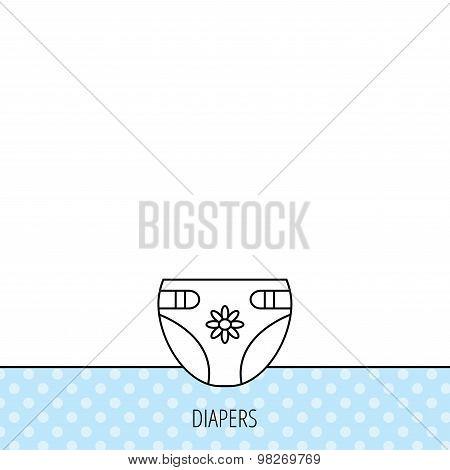 Diaper with flower icon. Child underwear sign.