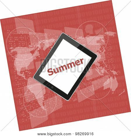 Summer Word On Tablet Pc Screen, Digital Touch Screen, Holiday Concept, Summer Card