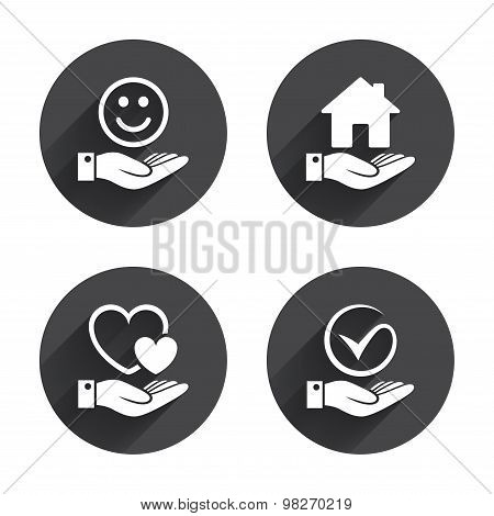 Smile and hand icon. Heart, Tick symbol.