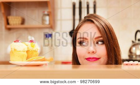 Woman Looking At Delicious Sweet Cake. Gluttony.