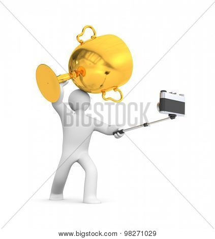 3d person hold gold cup and make selfie