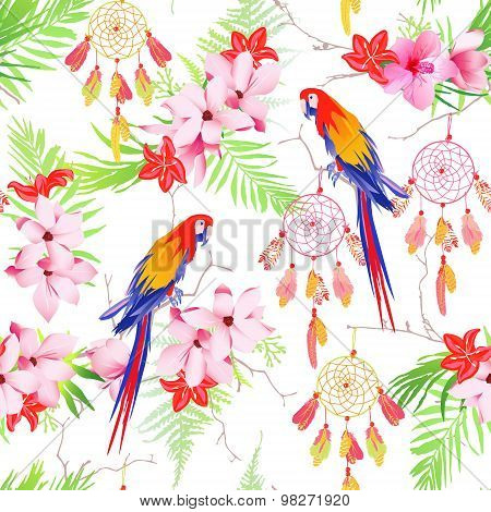 Tropical Forest Parrots And Dreamcatchers Seamless Vector Print