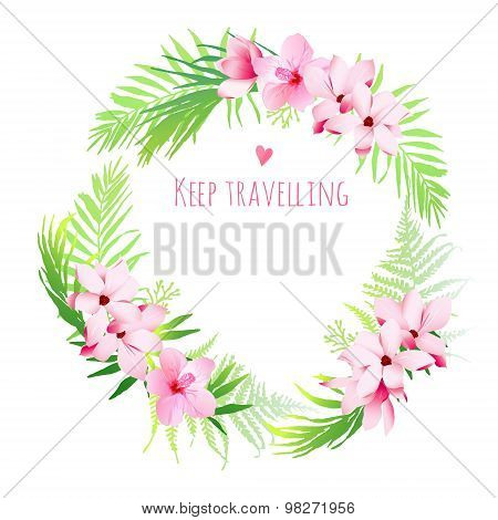 Hawaiian Exotic Plants Vector Design Frame