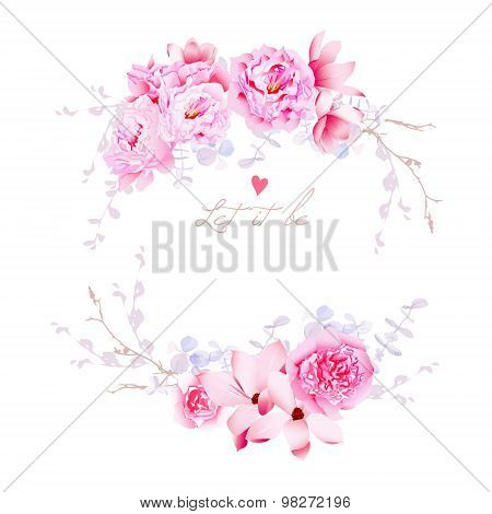 Spring Magnolia And Peonies Vector Frame. Gentle Flowers Wedding Template