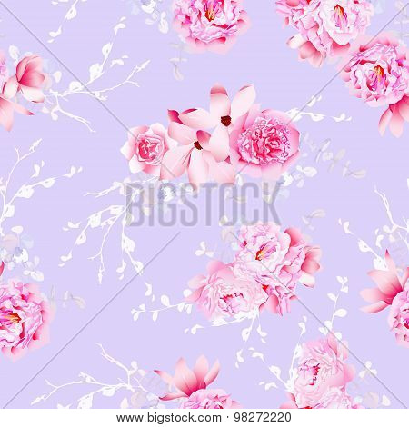 Purple Magnolia And Peonies Seamless Vector Pattern