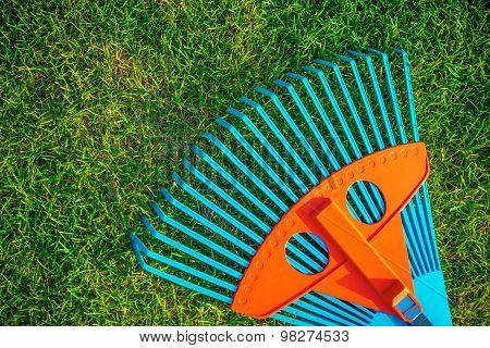 Garden Rake On Grass