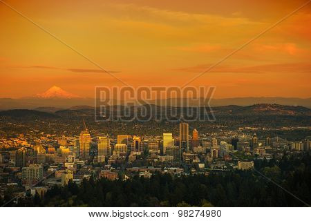 Sunset Scenery In Portland