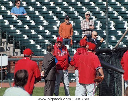 Manager Charlie Manuel Talks To Reporter Outside The Batting Cage During Batting Practice