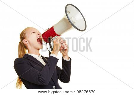 Young woman shouting lout and angry into a megaphone