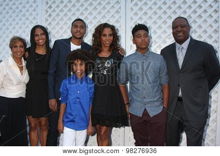 LOS ANGELES - AUG 8:  Delores Robinson, Holly Robinson Peete, Rodney Peete, Family  at the 17th Annual HollyRod Designcare Gala at the The Lot on August 8, 2015 in West Hollywood, CA