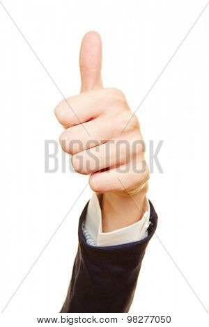 Business hand of a woman holding thumbs up