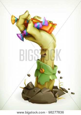 Zombie hand with candy, vector illustration