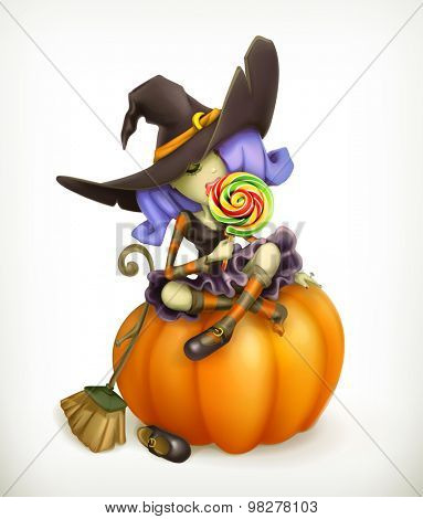 Witch on pumpkin, vector illustration