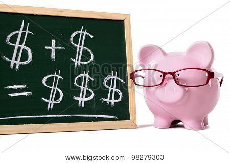 Piggy Bank With Blackboard