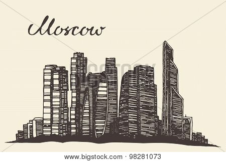 Moscow skyline vector engraved hand drawn sketch