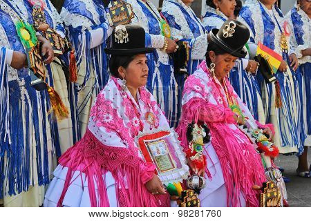 Group Of Women In Bolivian Independence Day Parade In Brazil