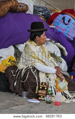 Woman Resting In Bolivian Independence Day Parade In Brazil