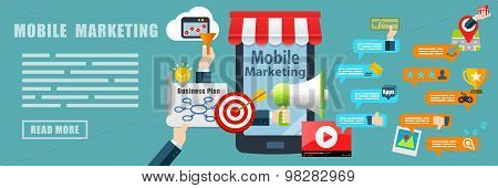 Mobile Marketing Flat Design Concept Banner