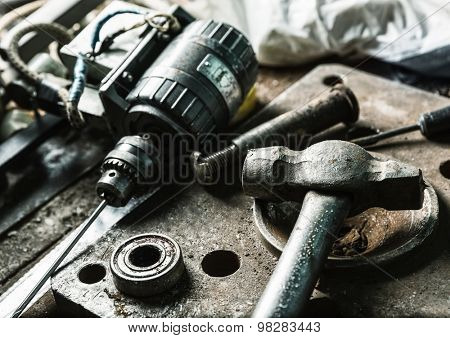 Drill machine, hammer and some mechanic tools