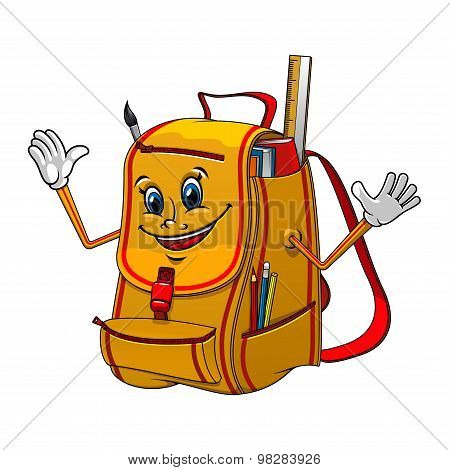 School backpack character with supplies
