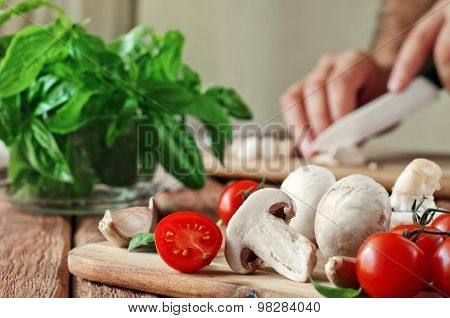 Food Ingredients For Pizza Or Pasta Dishes