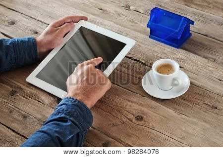 Tablet Computer In Men Hands