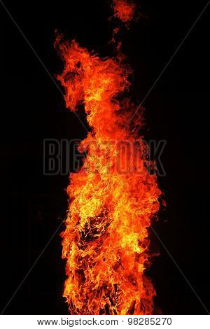 Big red yellow flames on black background