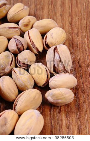 Pistachio Nuts On Wooden Table, Healthy Eating