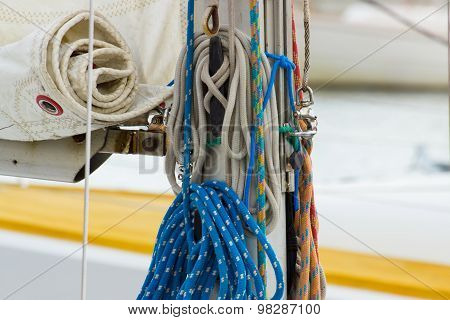 Yachting, Colorful Rope On Sailboat, Details Of Yacht